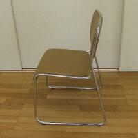 【送料無料】スタッキングチェアー(4脚セット)カフェ色積み重ね可能完成品組立不要メッキ仕上げダイニングチェアーミーティングチェアースタッキングチェア会議用椅子事務椅子
