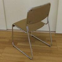 スタッキングチェアー(4脚セット)カフェ色積み重ね可能完成品組立不要メッキ仕上げダイニングチェアーミーティングチェアースタッキングチェア会議用椅子事務椅子