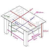 ホワイトガラステーブル幅110奥行60【あす楽対応】110x60x33.5cmセンターテーブルリビングテーブル