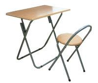 【送料無料】イス付フォールディングテーブルセット(机+椅子)【あす楽対応】デスクチェアセット組立不要完成品折りたたみテーブルパイプ椅子テーブルセットミシン台作業机製図