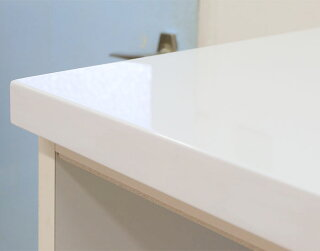 【送料無料/設置無料】日本製お洒落な純白鏡面×シャンパンゴールドのダスト付き贅沢ハイカウンター食器棚グロス幅117cmカップボードハイカウンター引出し4段ごみ箱付レンジ台ダスト付ゴミ箱付レンジボード食器棚白
