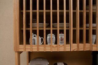 【送料無料/設置無料】日本製タモ無垢材を贅沢に使った格子扉の純和風食器棚秘境幅120cmナチュラル色食器収納ダイニングボードキッチンボード木製和室茶だんす和家具天然木和風食器棚カップボードキッチン収納