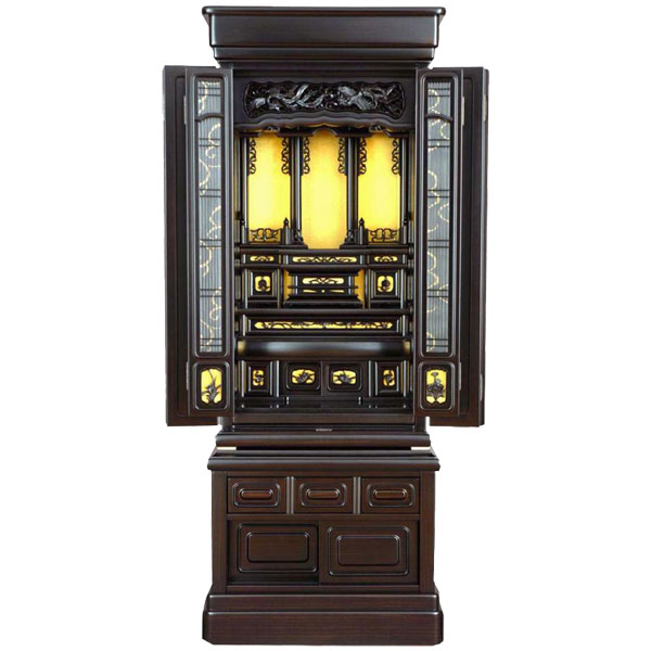 仏壇 唐木仏壇台付仏壇 45-15号黒檀調:家具のコンシェルジュ