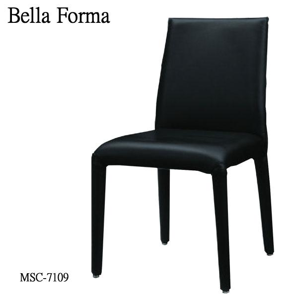 ミキモク BELLA FORMA ベラフォーマダイニングチェア MSC-7109 BKスチール PVC 合皮 レザー ブラック 送料無料