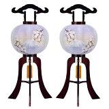 盆提灯 大内行灯 絹張行灯 桜二重絵 向い合せ 富士に桜 11号対柄 一対 木製 風鎮付 電気式 絹張 二重絵