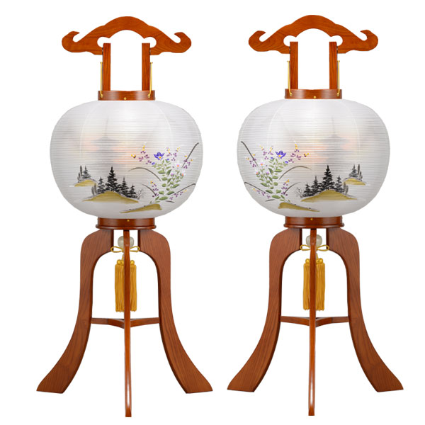盆提灯 大内行灯 絹張行灯 ケヤキ二重絵 向い合せ 金華山 12号対柄 一対 木製 風鎮付 電気式 絹張 二重絵:家具のコンシェルジュ