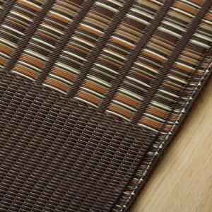 洗えるPPカーペット『ウィード』江戸間2畳約174×174cm正方日本製純国産水拭き水洗いブラウンブラックござゴザモダン和おすすめおしゃれ送料無料
