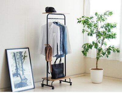 ハンガーラックポールハンガーアイアンスチール木製収納付き棚付北欧収納衣類ハンガーラックおしゃれシンプルモダンキャスター付アイアン風ハンガーポール60送料無料