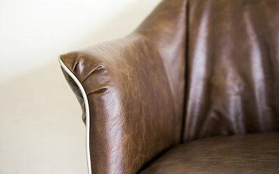 デザインチェアー肘付きタイプレザーチェアー存在感がかっこいいチェアーヴィンテージチェアー椅子イスいすブラックスチールダークブラウンビンテージチェアー送料無料送料込み
