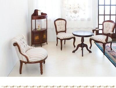 アンティーク調ソファロココ調猫脚チェア猫脚ソファー椅子いすヨーロピアン家具クラシックレトロ風ソファーブラウン茶ヨーロピアン調アンティーク風家具チェアー茶ブラウン