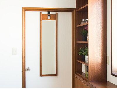 ハングミラーLドア掛け鏡壁掛けミラー扉に引っ掛ける鏡ウォールミラー吊り下げ鏡天然木製フレームブラウンナチュラル北欧カントリー和風和室おしゃれオシャレかわいい木枠飛散防止鏡省スペーススリム送料無料