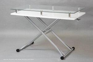 テーブル/高さ調節/折りたたみ/昇降テーブルHD-20/幅120/奥行60/昇降式/ガラス/強化ガラス/昇降/ガス圧/おしゃれ/キャスター付き/リフティングテーブル/送料無料