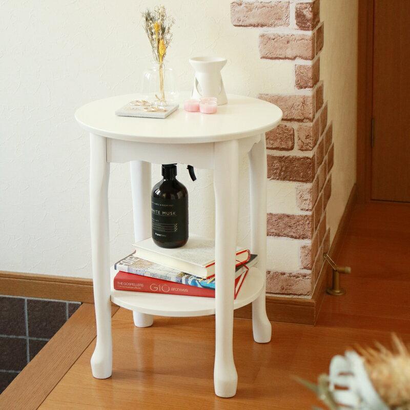 サイドテーブル 高さ52 木製 アンティーク ロココ調 丸 ミニ テーブル 猫脚 カフェ風 丸テーブル アルコール 消毒 スタンド おしゃれ 猫足 コンパクト ナイトテーブル ソファ 小さい 可愛い 北欧 ホワイト 白 送料無料 SN-TS-52 VH-S3