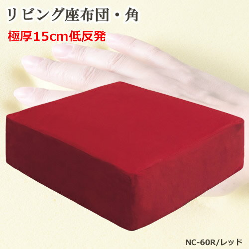 座布団 角型(長方形) レッド 低反発ウレタン ポリエステル