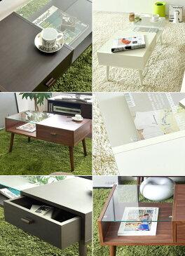 ローテーブル ガラステーブル リビングテーブル センターテーブル 強化ガラス5mm ブラウン ライトブラウン ホワイト ラバーウッド 合成樹脂化粧繊維板 引出し付