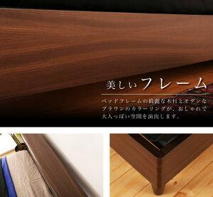 棚付き木製ベッドシングルサイズベッドフレームのみおしゃれ木目調ブラウンヘッドカラー2色展開脚付き二口コンセントLED照明付き背面収納棚収納付きベッド木製フレームSサイズシングルベッド木のベッドベットシンプルモダンナチュラル[送料無料]