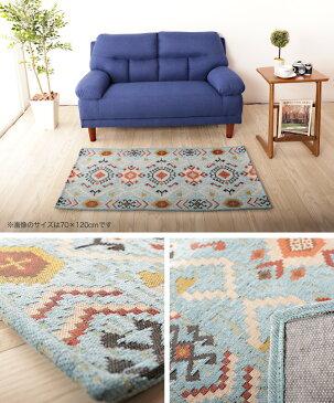 ラグマット 厚手 オルテガ柄マット 50×80 マルチマット マット ラグ カーペット 絨毯 フロアマット チェアマット ドアマット 玄関マット フロアラグ 室内 ネイティブ柄 おしゃれ 可愛い 一人暮らし 引越し 新生活