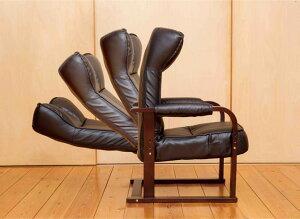 チェア木製肘付リクライニングチェアオットマン付き背部無段階リクライニング肘掛付き高座椅子チェアー木製肘リラックスチェアヘッドレス木製1人掛け[送料無料][]