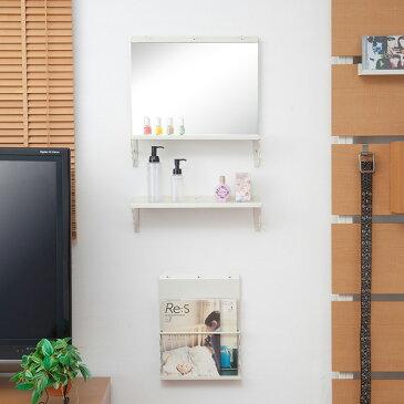 壁面棚 壁掛けドレッサーミラー&棚セット アイボリー色 幅40cm 「NJ-0321」【送料無料】 収納棚 押しピンで壁に自由に設置できる壁掛けミラーと壁掛け棚セット 簡易なドレッサーとしても使えます。 ディスプレイラック 鏡 ミラー 鏡台