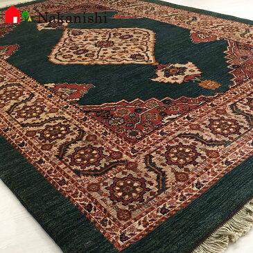 【ギャッベラグ 約1.5畳 約154×205cm 深海の結晶(13682)】GABBEH・ギャッペ(ギャべ)・イラン製・カーペット・ラグ・絨毯(じゅうたん)・グリーン系