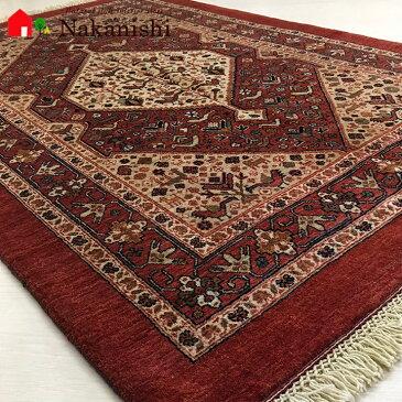 【ギャッベラグ 約118×176cm 13552】カシュガイ族・GABBEH・ギャッペ(ギャべ)・イラン製・カーペット・ラグ・絨毯(じゅうたん)・レッド系
