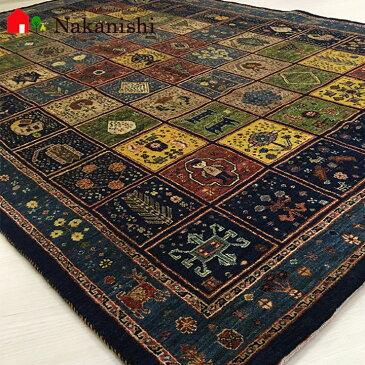 【ギャッベラグ 約1.5畳 約151×220cm 星に願いを(14775)】GABBEH・ギャッペ(ギャべ)・イラン製・カーペット・ラグ・絨毯(じゅうたん)・ネイビー