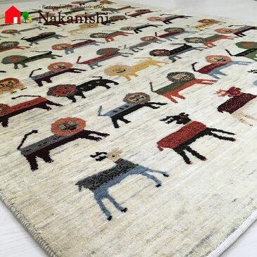 【ギャッベラグ ラクダのおまわりさん 約148×208cm】GABBEH・ギャッペ(ギャべ)・イラン製・カーペット・ラグ・絨毯(じゅうたん)・カラフル・ライオン