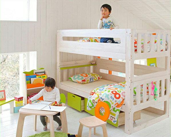 白くてカワイイ♪安全設計エコ塗装2段ベッド/二段ベッド(すのこベッド)※代引き不可 すのこベット 寝具 おしゃれ シンプル ナチュラル モダン 子供用ベッド 子供用ベット 二段ベット 頑丈 スノコベッド:家具の里