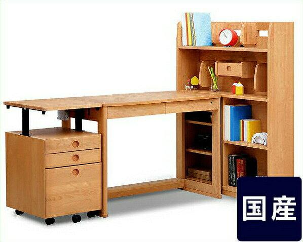 【杉工場】【アクシス】木製エコ塗装学習机110cm幅(デスク+書棚+ワゴン)学習机・学習デスク:インテリアなら 家具の里