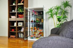 送料無料コレクションケースケースリビングキャビネット収納家具シェルフブルーLEDライトガラスケースフィギュアディスプレイロジャー2色2サイズグラスケース壁面収納人気高級