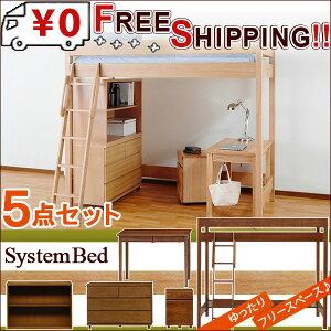 送料無料!天然木無垢システム家具5点セット!小さめデスクでスペースゆったり♪ロフトベッドデスク幅95デスクワゴンシェルフ幅100cmチェスト幅100cm