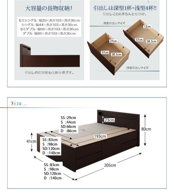 送料無料日本製シングルベッド5杯引出BOX収納ベッドチェストベッド国産大容量収納薄型カウンター省スペースベッドシングル幅98cm本体フレームのみ収納ヘッドボードコンセントスライドレールラジェスト