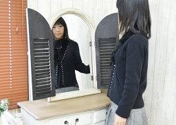 扉付きミラー(鏡壁掛けアンティーク窓フレンチおしゃれシャビー家具アンティーク雑貨)