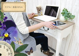デスクアンティーク90cm(ライティングデスクパソコンデスクホワイト机アンティーク家具シャビーシックシャビー家具猫足家具フレンチカントリーコンソールテーブル)