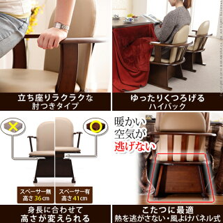 高さ調節機能付き肘付きハイバック回転椅子〔コロチェアプラス〕
