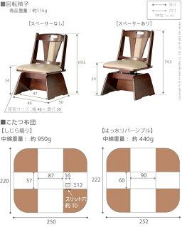 6段階に高さ調節できるダイニングこたつ〔スクット〕90x60cm3点セット(こたつ本体+専用省スペース布団+回転椅子1脚)