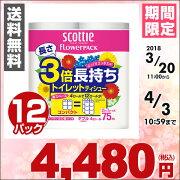 日本製紙クレシアスコッティトイレットペーパーフラワーパック3倍長持ち4ロール(ダブル)4ロール×12(48ロール)22730