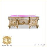 ロココ調クラシック調イタリア家具 シリック デスク アイボリー ピンク 天板本革 ライティングデスク 机 つくえ ロココ調家具