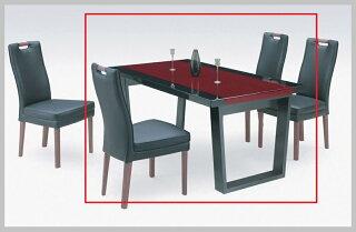 ダイニングテーブル4人がけUV塗装黒北欧鏡面サペリブラック/DTJUJ-2