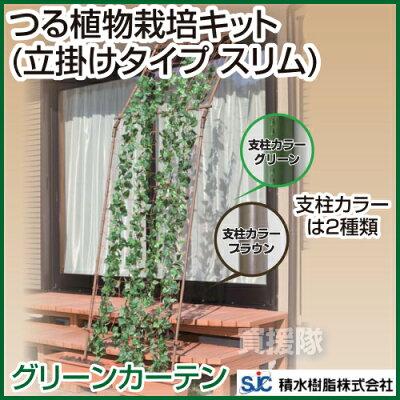 緑のカーテンで夏を涼しく!節電にも貢献!セキスイ つる植物栽培キット(立掛けタイプ スリム) ...