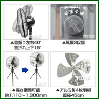 タイカツ三脚型工場扇HX-450A[アルミ羽・45cm](業務用・工場用扇風機)