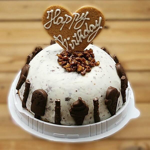 チョコチップアイスケーキお誕生日バースデイお誕生日ギフトお誕生会ホームパーティープレゼントカード付きアイスクリームチョコレート魁