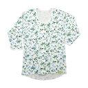 8分袖ワンタッチ前開きプリントシャツ 婦人用 / SMS-001 オフ白(花柄) M