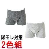 2枚セット送料無料おしゃれなボーダー柄の男性用失禁パンツ【紳士100cc】(日本製)介護パンツ【33019ボーダー柄2色組み】
