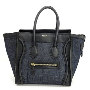 [Used] CELINE luggage micro shopper denim x black tote/hand << bag/bag/bag>> [brand] [Yamashiro store]