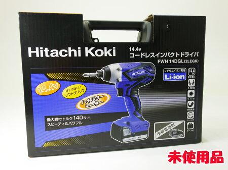 【】【未使用品】HitachiKoki14.4Vコードレスインパクトドライバー1.3AhFWH14DGL(2LEGK)【工具】【電動】【インパクト】【家電部門】【福山店】[173]