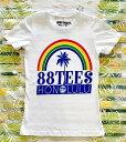 ○o。【新作入荷!!】大人気!!ハワイアンブランド88TEES*レディース半袖Tシャツ*S*M*L ホワイト【エイティーエイトティーズ】ハワイ人気ブランド*YAYA 88ティーズ。o○