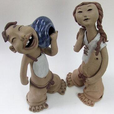 司書勝作 【山村の子供】 陶器の置物