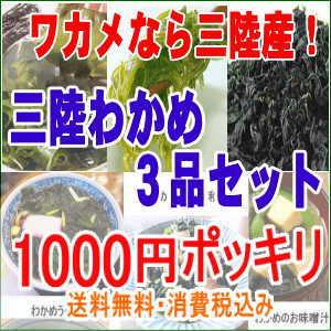 三陸産わかめ3品セット1000円ポッキリ 送料無料 ぽっきり わかめ めひび カットわかめ 無…