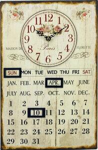 掛け時計 【ポイント10倍】アンティークカレンダークロック ローズ DYH10403 アンティーク雑貨 ...